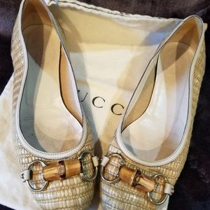 Gucci woman ladies authentic straw ballet shoe 8B